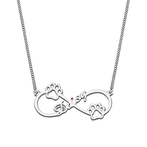925 Sterling Silver Personalized Birthstone Infinity Name Necklace with Dog Paw Custom Made with Any Name (Silver) (Necklace Any Name Silver)