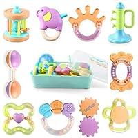 bemixc 磨牙玩具婴儿玩具 ハンドラトル Pcs 咬嘴安抚玩偶摇铃婴儿新生儿祝福宝宝的第一本玩具