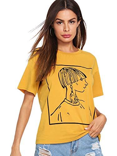 Jual Romwe Women s Girl Print Short Sleeve Top Basic Tee Shirt ... d411211cf