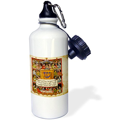 (3dRose Print Of The Hebrew Haggadah From 1400 1400-Sports Water Bottle, 21oz (wb_193072_1), 21 oz, Multicolor)