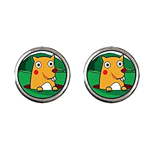 Chicforest Silver Plated Cartoon Theme Photo Stud Earrings 10mm Diameter, Groundhog Day Easter