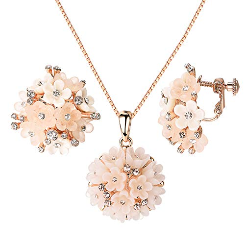 - Yoursfs Flower Bouquet Necklace and Earrings Set for Wonem Fashion Elegant CZ Rose Gold Plated Ladies Jewelry Set