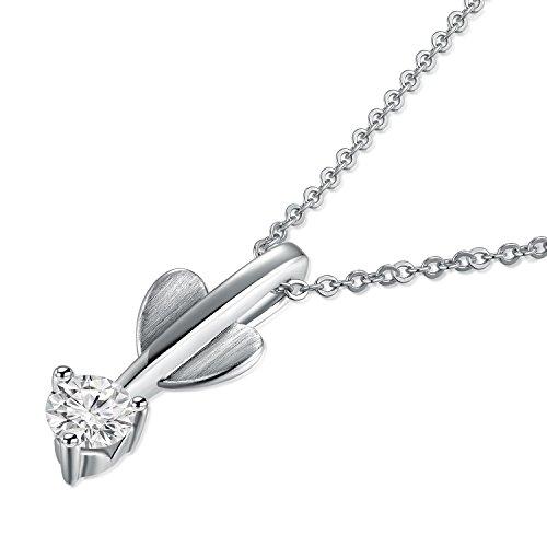 Or blanc 18ct 750avec cœur Diamant Pendentif flèche en argent sterling 925Chaîne de 40,6cm/40cm (0.16CT, G-H Couleur, Vs1-si2Clarté) Femme Bijoux Cadeau Saint Valentin
