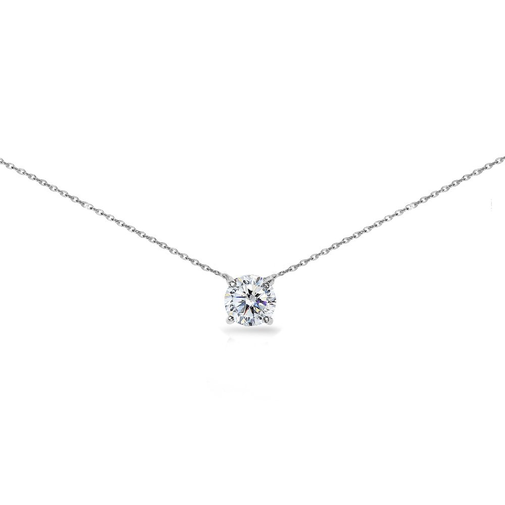 Sterling Silver Clear Solitaire Choker Necklace Made with Swarovski Crystal