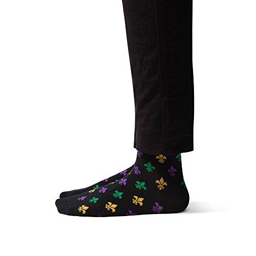 Sheec - TrouSox - Mardi Gras Fleur-de-lis Crew Length Dress Socks (Mardi Gras Fashion)