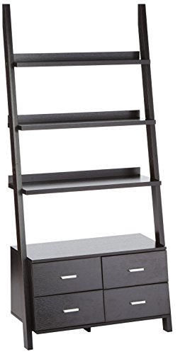 Coaster Contemporary Cappuccino Leaning Ladder Bookcase with 4 Drawers -
