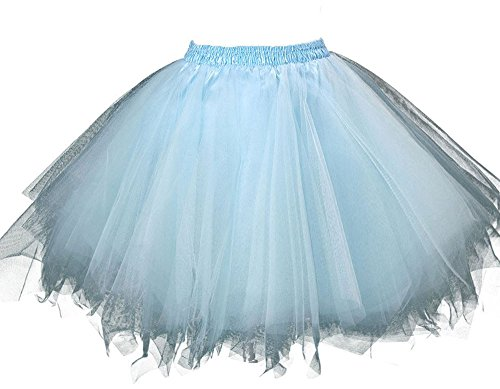 [MsJune Women's 1950s Vintage Petticoats Crinolines Bubble Tutu Dance Half Slip Skirt Light Blue-3XL] (Cheap Plus Size Fancy Dress)
