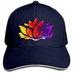 Qay.SADRa Women's/Men's Topaz Ruby Sapphire Lotus Flower Adult Adjustable Snapback Hats Sandwich Cap Navy