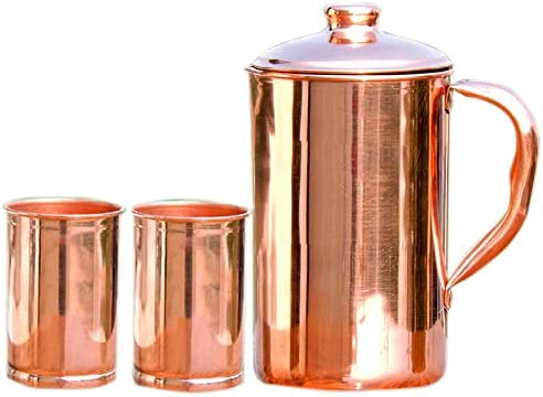 Pure Copper Water Jug For Ayurveda Health Benefits With 2 Tumblers Set Chritmas