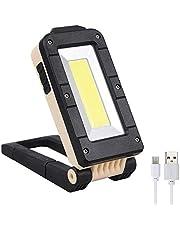 COLFULINE LED-arbetslampa, USB-laddningsbar COB-arbetslampa, vattentät hopfällbar inspektionslampa med magnetisk bas och hängande krok för camping, fiske, vandring, nödbilreparation