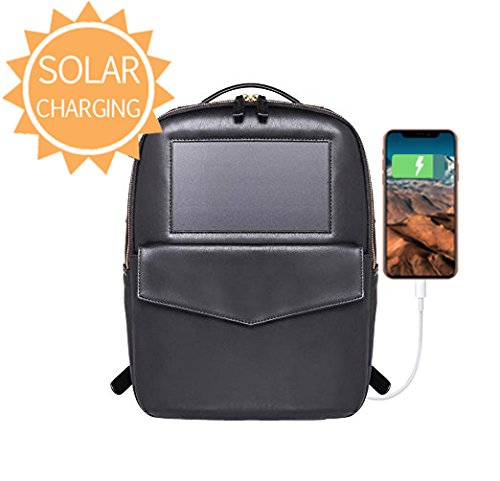 Mini Leather Black Backpack - Solar Backpack by BirkSun by BirkSun