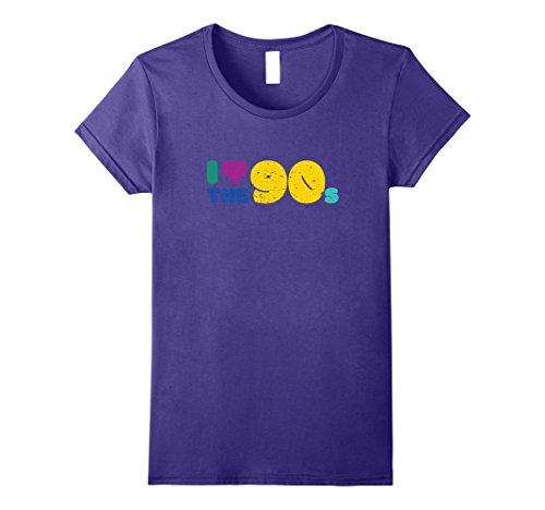 90s Party Costume Ideas Male (Womens I Love The 90s Nineties Retro Clothing For Men Women Shirt Large Purple)