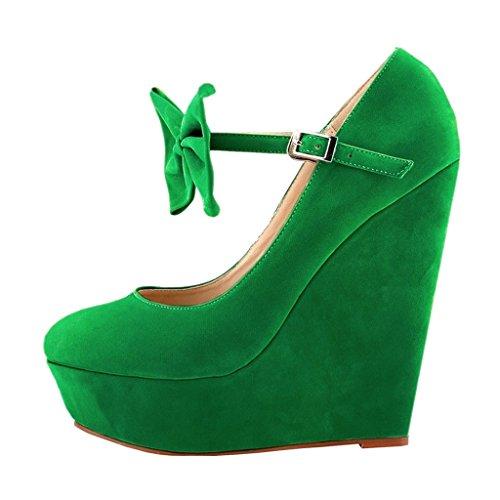 MERUMOTE - Zapatos de vestir de ante para mujer Verde