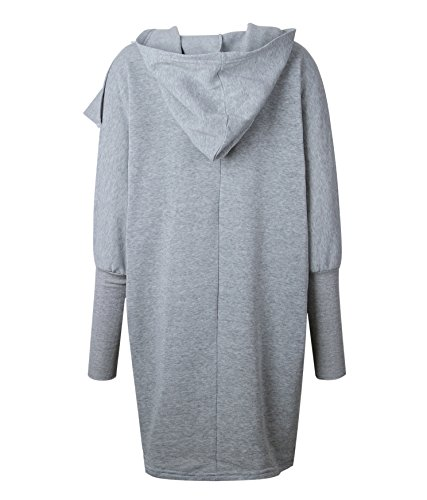 CoCo fashion Women's 2017 Winter Long Hooded Coat Casual Jackets Warm Slim Overcoat Outwear (Small, Style 2_Pary Grey) by CoCo fashion (Image #4)
