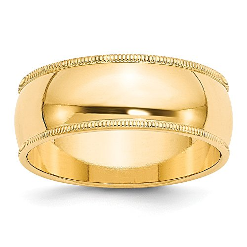 Brilliant Bijou 14k Yellow Gold 8mm Milgrain Half Round Mens Womens Wedding Anniversary Band Size 13 ()