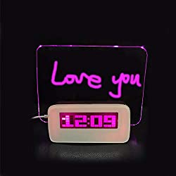 Digital Alarm Clock,Luminous LED Fluorescent Message Board LCD Calendar with 4 Port Usband Night Light for Home, Office Gift,Pink-Light