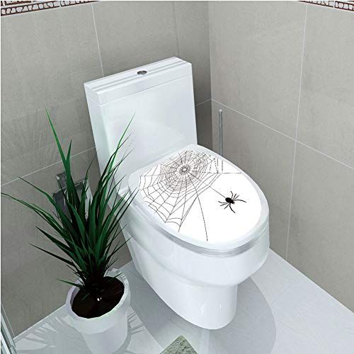 Trim Gossamer - Toilet Sticker 3D Print Design,Spider Web,Complex Doodle Net Sticky Gossamer Hunting Insect Catch Danger Prey Spooky Decorative,Black White,for Young Mens,W12.6