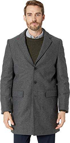 Calvin Klein Men's Herringbone Overcoat Charcoal ()