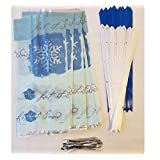 "Raincoast Goods Cello/Cellophane Holiday Treat Bag Bundle of 2 Items Including 20 Let It Snow Side Gusseted Cello/Cellophane Treat Bags Good for Snacks Bakery Cookies Candies (5"" x 3 1/2"" x 11"") with 20 Silver Twist Ties and 20 2 Inch Butterfly Bows (10 Royal Blue and 10 White)"