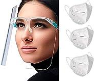 Paquete de 5 Caretas Faciales Protectoras de Ojos, Nariz y Boca con Cómoda Forma de Lentes, Totalmente Transpa