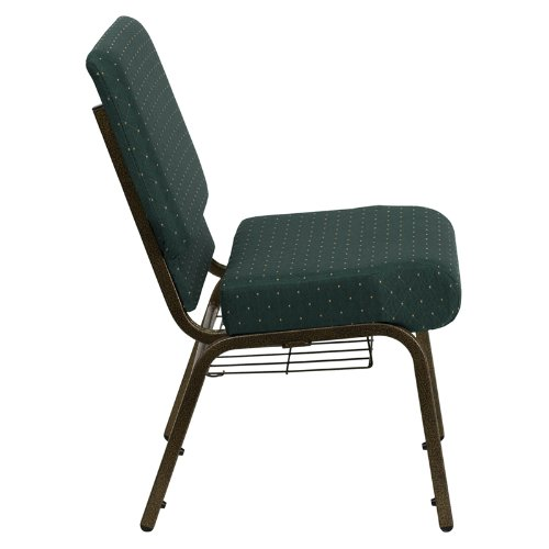HERCULES Series 21'' Extra Wide Hunter Green Dot Patterned Church Chair with 4'' Thick Seat, Communion Cup Book Rack - Gold Vein Frame [FD-CH0221-4-GV-S0808-BAS-GG]