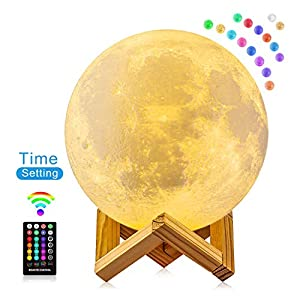 Moon Lamp, FIRPOW 5.9 inch 3D Moon Night Light with Stand, Touch & Remote Control and USB Rechargeable, 16 Colors Change Moon Light for Baby Kids Friends Birthday Party Christmas Gifts