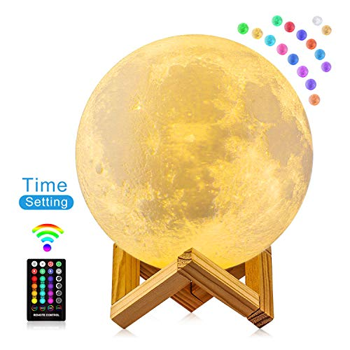 FIRPOW Moon Lamp, 5.9 inch 3D Moon Night Light with Stand, Touch & Remote Control and USB Rechargeable, 16 Colors Change Moon Light for Baby Kids Friend Birthday Party -