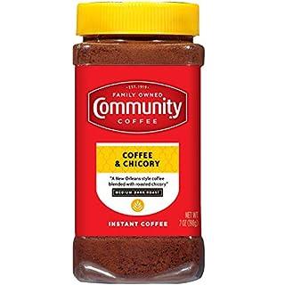 Community Coffee and Chicory Medium Dark Roast Premium Instant 7 Oz Jar, Full Body Rich Flavorful Taste, 100% Select Arabica Beans (Pack of 4)