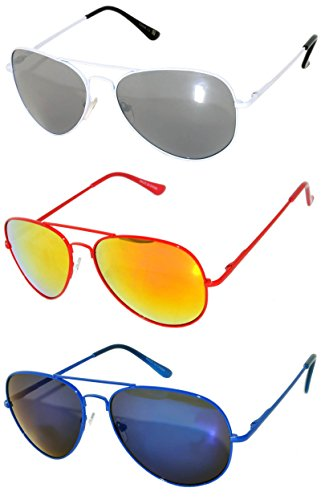 3 Pairs Aviator Mirror Lens Sunglasses Metal Frame White Red Blue Spring Hinges - Colorfull Sunglasses