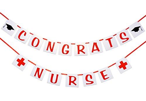 Qttier Congrats Nurse Banner , Nurse Graduation Decor , RN Graduation Sign. -