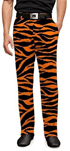 Loudmouth Golf Mens Pants - Orange & Black Tiger Stripes - Size 32x32