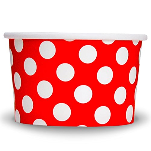 Red Paper Ice Cream Cups - 4 oz Polka Dot Dessert Bowls - Comes In Many Colors & Sizes! Frozen Dessert Supplies - Fast Shipping! 1000 Count
