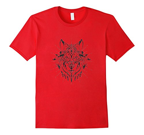 Tribal Tattoo T-shirt (Men's Wolf Wolves Tattoo Tribal Tshirt Indian XL)