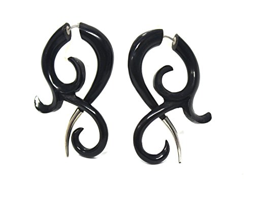 Tribal Shack Black Horn Fake Gauges Earrings Tribal Style Hand Carved Black horn