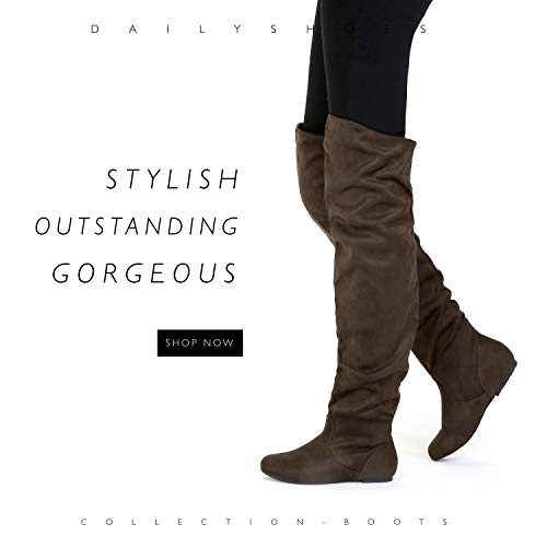 Thigh Heel DailyShoes Brown Slouchly Low Hi Boots Fashion High Sv Knee the Over Shaft Women's Flat rq7YxUqf