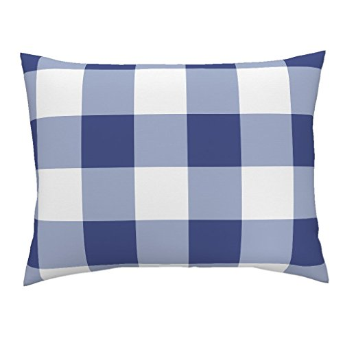 (Roostery Gingham Buffalo Check Blue and White Savoy Willow Ware Cobalt Standard Knife Edge Pillow Sham Willow Ware Blue and White by Peacoquettedesigns 100% Cotton)