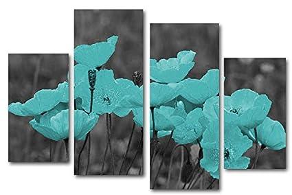 Modern Teal Flower Canvas Wall Art Print, Set Of 4