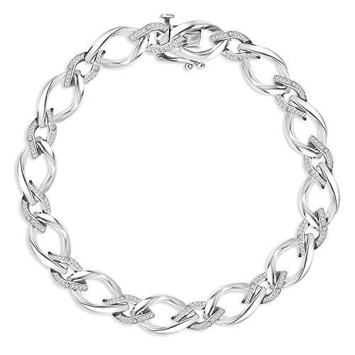 Helzberg Diamonds Sterling Silver 1/10 cttw Diamond (I-J Color, I3 Clarity) Link Bracelet, 7