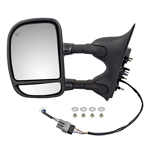 Drivers Power Side Telescopic Tow Mirror Heated Signal Dual Arms Textured Replacement for Ford Pickup Truck 5C3Z17683EAA - Excursion Dual Arms