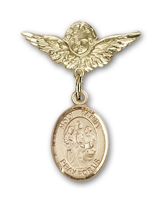 ReligiousObsession's 14K Gold Baby Badge with Holy Family Charm and Angel with Wings Badge Pin by Religious Obsession