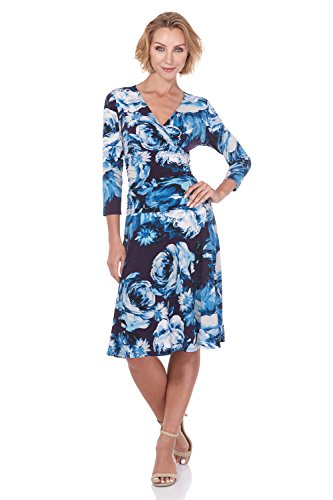 Rekucci Women's Slimming 3/4 Sleeve Fit-and-Flare Crossover Tummy Control Dress (6,Grape/Denim Flower) - Denim Stretch Dress Knit