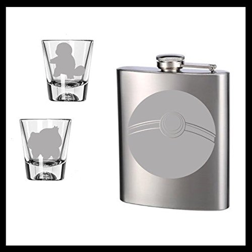 Pokemon Flask and set of TWO etched shot glasses.  Squirtle