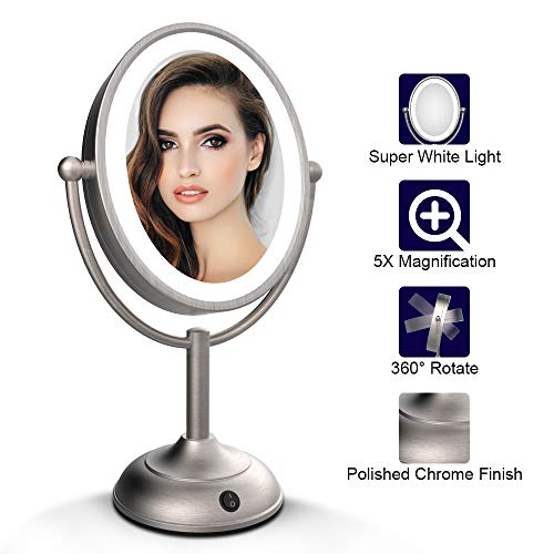 Lighted Makeup Mirror, 8'' x 7'' LED Vanity Mirror with 1x/5x Magnification, 360° Rotation Makeup Mirror Double Sideds, Round Non-slip Base, Natural White Light, AC Adapter Or Battery ()