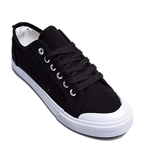 Emma Shoes Crescent Toe Lace-Up Sneakers for Women; Tennis Shoes for Women Black (Shoes Canvas High)