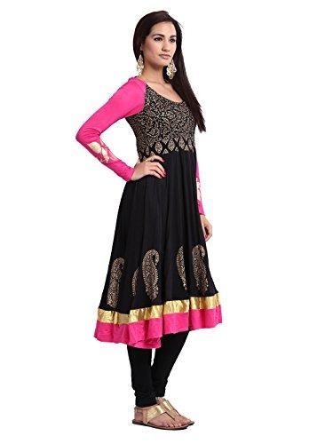 Ira Soleil Womens Ethnic Viscose Black Long Anarkali with Pink Sleeves Kurta Kurti Extra Extra Large Black