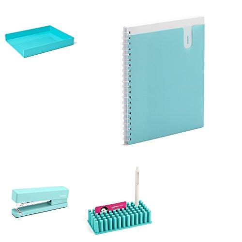 Journaling Strips (Poppin 5 Pc. Desk Accessories Set (Aqua) - 2 Stacking Letter Trays, Spiral Notebook, Stapler, Softie Grip Grass)