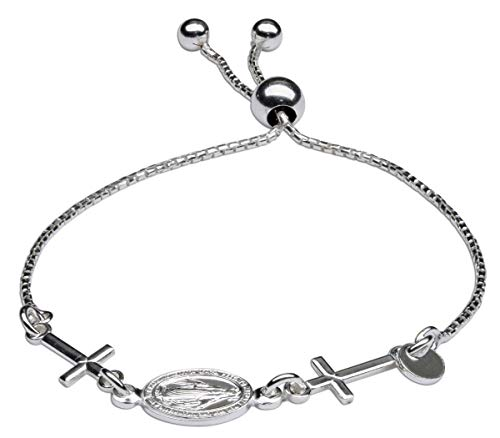 Sterling Silver First Communion Miraculous Medal and Cross Bolo Bracelet for Girls 6-8 inch