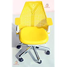 1/6 Barbie blythe Yellow Swivel Chair Toy Office Chair Dollhouse Miniature Furniture