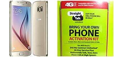 "Straight Talk Samsung Galaxy S6 ""Platinum Gold"" 32GB runs on Verizon's 4G XLTE Via Straight Talk's $45.00 5GB Unlimited talk & Text ""Service Card Not included"""