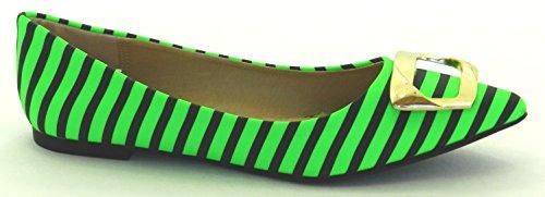 DEV Womens New Fashion Ballet Ballerino Buckle Pointy Toe Comfortable Flat Shoes Green F71FJjk4vS
